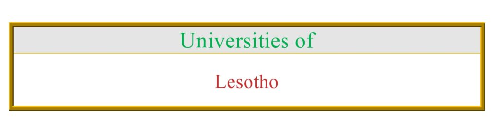 List of all Universities in Lesotho