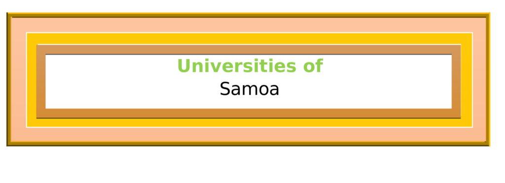 List of Universities in Samoa