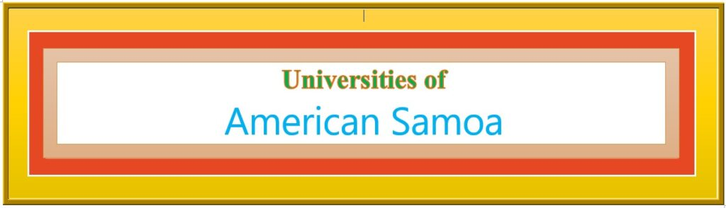 List of Universities in American Samoa